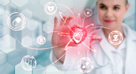 Medical Healthcare Concept - Doctor in hospital with digital medical icons graphic banner Stock fotó