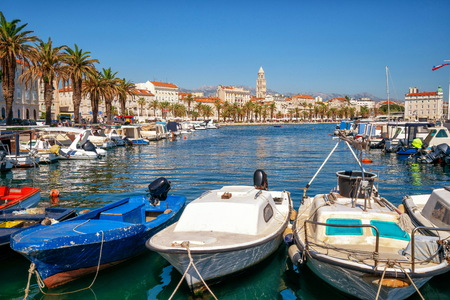 Old town of Split in Dalmatia, Croatia. Split is the famous city and top tourism destination of Croatia and Europe. Stock Photo