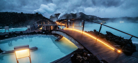 Reykjavik, Iceland - July 4, 2018: Beautiful geothermal spa pool in Blue Lagoon in Reykjavik