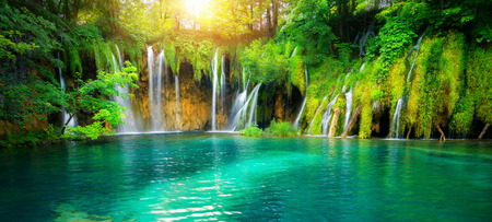 Exotic waterfall and lake landscape of Plitvice Lakes National Park Stock Photo