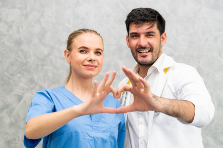 Doctor and nurse working in hospital. Healthcare and medical staff service concept. Stock fotó