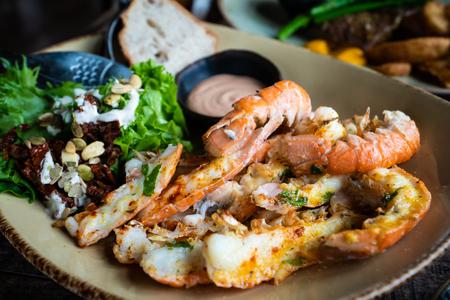 Langoustines - Icelandic cuisine made of lobster. Iceland national food.