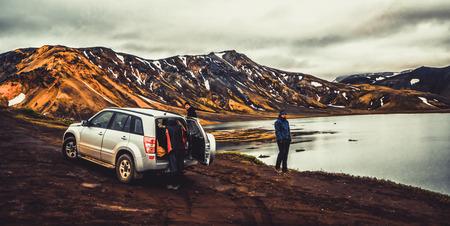 Landmannalaugar, Iceland - July 2, 2018: 4WD vehicle car travel off road in landscape of Landmannalaugar in highland of Iceland, Nordic, Europe.
