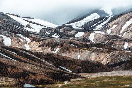 Landscape of Landmannalaugar surreal nature scenery in highland of Iceland, Nordic, Europe.