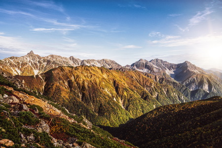 Panoramic mountain scenery landscape of Northern Japan Alps in Nagano, Japan
