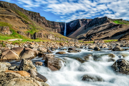 Beautiful Hengifoss Waterfall in Eastern Iceland. Nature travel landscape.
