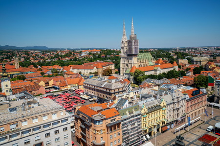 Aerial view Zagreb in Croatia. Capital city of Croatia, Zagreb is the famous tourist destination of Croatia and Europe. Imagens