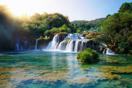 Panoramic landscape of Krka Waterfalls on the Krka river in Krka national park in Croatia. Stock fotó - 119875056