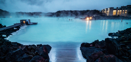 Reykjavik, Iceland - July 4, 2018: Beautiful geothermal spa pool in Blue Lagoon in Reykjavik. The Blue Lagoon geothermal spa is one of the most visited attractions in Iceland. 新闻类图片