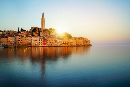Beautiful romantic old town of Rovinj in Croatia. The coastal city of Rovinj situated in Istria Peninsula east of Croatia Europe, it is the famous travel destination of Croatia. Reklamní fotografie