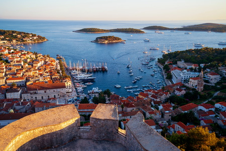 Panoramic view of Hvar Town in Croatia. Hvar Town is the famous town for summer beach vacation on Hvar Island in Dalmatia, Croaita. Stock fotó