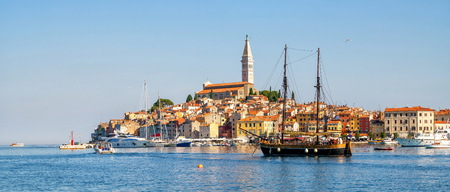 Beautiful romantic old town of Rovinj in Croatia. The coastal city of Rovinj situated in Istria Peninsula east of Croatia Europe, it is the famous travel destination of Croatia.