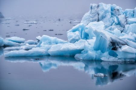 Icebergs in Jokulsarlon beautiful glacial lagoon in Iceland. Jokulsarlon is a famous travel destination in Vatnajokull National Park, southeast Iceland, Europe. Winter landscape. Stock fotó