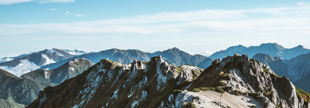 Panoramic mountain scenery landscape of Tsubakuro mountain in Northern Japan Alps in Nagano, Japan. Adventure and mountaineering activity concept.