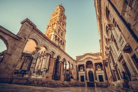 The Diocletian's Palace in Split, Croatia - Famous Diocletian Palace is ancient palace built for Emperor Diocletian in historic center of Split, Croatia. 新聞圖片