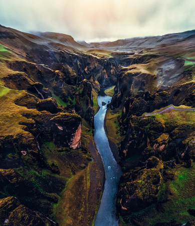 Unique landscape of Fjadrargljufur in Iceland. Top tourism destination. Fjadrargljufur Canyon is a massive canyon about 100 meters deep and about 2 kilometers long, located in South East of Iceland. 写真素材