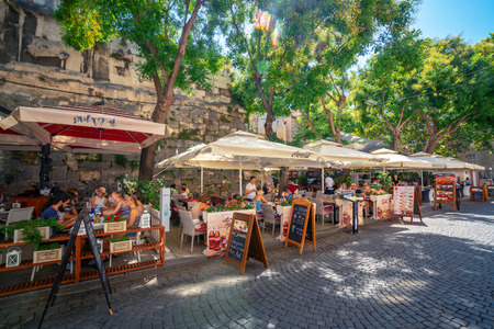 Split, Croatia - Jul 11, 2017: Luxury seafood restaurant on the street of Split Old Town in Dalmatia, Croatia. Split is the famous city and the top tourism destination of Croatia and Europe.