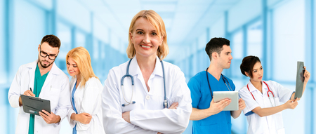 Healthcare people group. Professional doctor working in hospital office or clinic with other doctors, nurse and surgeon. Medical technology research institute and doctor staff service concept. Foto de archivo