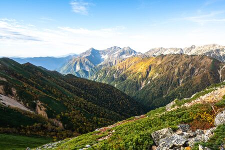 Panoramic mountain scenery landscape of Northern Japan Alps in Nagano, Japan, overlooking mount Yari, Yarigadake. Adventure and mountaineering activity concept.