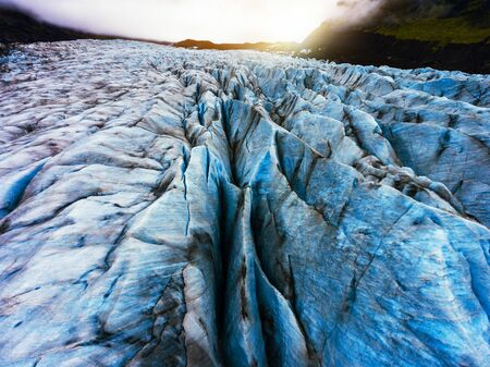 Aerial view beautiful scenery landscape of Svinafellsjokull Glacier in Vatnajokull National Park in Iceland.