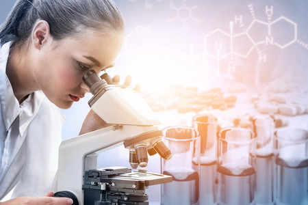 Research and development concept. Double exposure image of scientific and medical lab instrument, microscope, test tube and glass flask for microbiology and chemistry in laboratory for medicine study. 免版税图像 - 124409341