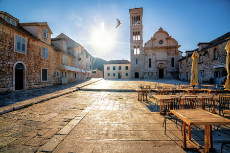 Street view of Hvar Town in Croatia. Hvar Town is the famous town for summer beach vacation on Hvar Island in Dalmatia, Croaita.