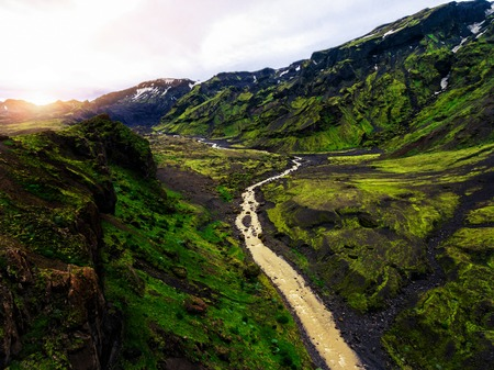 The beautiful unique aerial view landscape of Thorsmork in highland of Iceland.