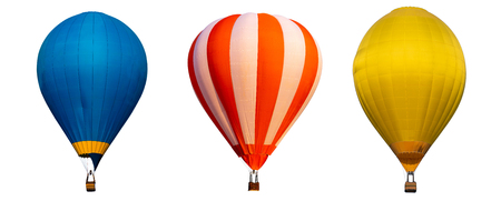 Isolated photo of hot air balloon isolated on white background. Archivio Fotografico