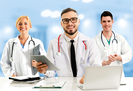 Healthcare people group. Professional doctor working in hospital office or clinic with other doctors, nurse and surgeon. Medical technology research institute and doctor staff service concept. Archivio Fotografico - 124824030