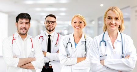 Healthcare people group. Professional doctor working in hospital office or clinic with other doctors, nurse and surgeon. Medical technology research institute and doctor staff service concept. Archivio Fotografico - 124824176