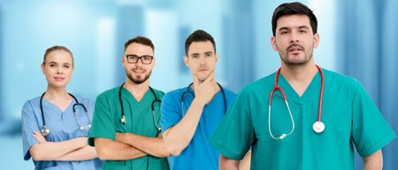Healthcare people group. Professional doctor working in hospital office or clinic with other doctors, nurse and surgeon. Medical technology research institute and doctor staff service concept. Archivio Fotografico - 124824422