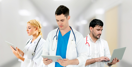 Healthcare people group. Professional doctor working in hospital office or clinic with other doctors, nurse and surgeon. Medical technology research institute and doctor staff service concept. Reklamní fotografie - 124824424