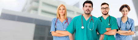 Healthcare people group. Professional doctor working in hospital office or clinic with other doctors, nurse and surgeon. Medical technology research institute and doctor staff service concept. Archivio Fotografico - 124824457
