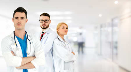 Healthcare people group. Professional doctor working in hospital office or clinic with other doctors, nurse and surgeon. Medical technology research institute and doctor staff service concept. Archivio Fotografico - 124824473