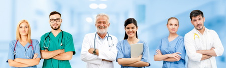 Healthcare people group. Professional doctor working in hospital office or clinic with other doctors, nurse and surgeon. Medical technology research institute and doctor staff service concept. Reklamní fotografie - 124824497