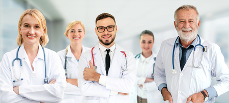 Healthcare people group. Professional doctor working in hospital office or clinic with other doctors, nurse and surgeon. Medical technology research institute and doctor staff service concept. Archivio Fotografico - 124824503