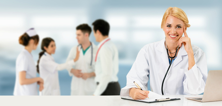 Healthcare people group. Professional doctor working in hospital office or clinic with other doctors, nurse and surgeon. Medical technology research institute and doctor staff service concept. Archivio Fotografico - 124824508