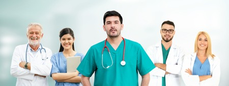 Healthcare people group. Professional doctor working in hospital office or clinic with other doctors, nurse and surgeon. Medical technology research institute and doctor staff service concept. Archivio Fotografico - 124824518