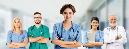 Healthcare people group. Professional doctor working in hospital office or clinic with other doctors, nurse and surgeon. Medical technology research institute and doctor staff service concept. Reklamní fotografie - 124824517