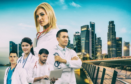 Healthcare people group portrait in creative layout. Professional medical staff, doctors, nurse and surgeon. Medical technology research institute and doctor staff service concept. Archivio Fotografico - 124824524