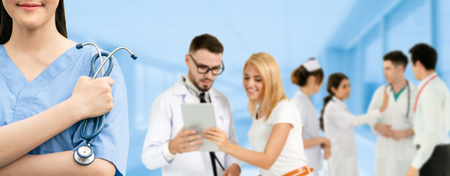 Healthcare people group. Professional doctor working in hospital office or clinic with other doctors, nurse and surgeon. Medical technology research institute and doctor staff service concept. Reklamní fotografie - 124824530