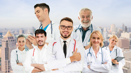 Healthcare people group portrait in creative layout. Professional medical staff, doctors, nurse and surgeon. Medical technology research institute and doctor staff service concept. Archivio Fotografico - 124824531
