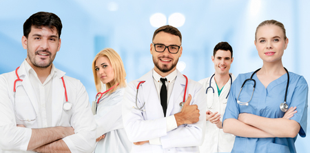 Healthcare people group. Professional doctor working in hospital office or clinic with other doctors, nurse and surgeon. Medical technology research institute and doctor staff service concept. Archivio Fotografico - 124824542