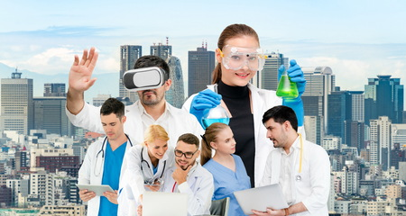 Healthcare people group portrait in creative layout. Professional medical staff, doctors, nurse and surgeon. Medical technology research institute and doctor staff service concept. Archivio Fotografico - 124824546