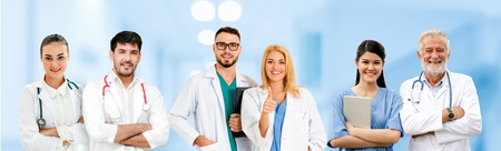 Healthcare people group. Professional doctor working in hospital office or clinic with other doctors, nurse and surgeon. Medical technology research institute and doctor staff service concept. Archivio Fotografico - 124824552