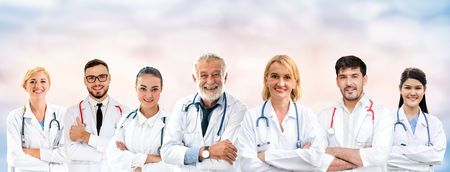 Healthcare people group. Professional doctor working in hospital office or clinic with other doctors, nurse and surgeon. Medical technology research institute and doctor staff service concept. Archivio Fotografico - 124824555
