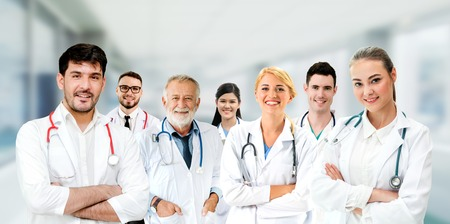 Healthcare people group. Professional doctor working in hospital office or clinic with other doctors, nurse and surgeon. Medical technology research institute and doctor staff service concept. Archivio Fotografico - 124824557