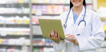 Professional doctor or pharmacist at the hospital or pharmacy. Medical healthcare business and doctor service. Stok Fotoğraf