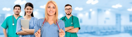 Healthcare people group. Professional doctor working in hospital office or clinic with other doctors, nurse and surgeon. Medical technology research institute and doctor staff service concept. Stock fotó
