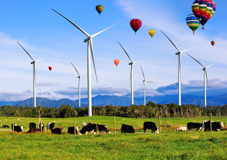 Wind turbine farm power generator in beautiful nature landscape for production of renewable green energy is friendly industry to environment. Concept of sustainable development technology. Standard-Bild - 124822391